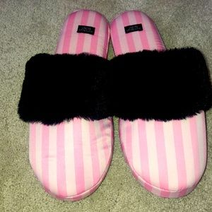 Victoria's Secret Slippers Large 9 Striped Pink
